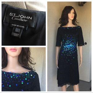 St. John couture hand beaded black dress size 8
